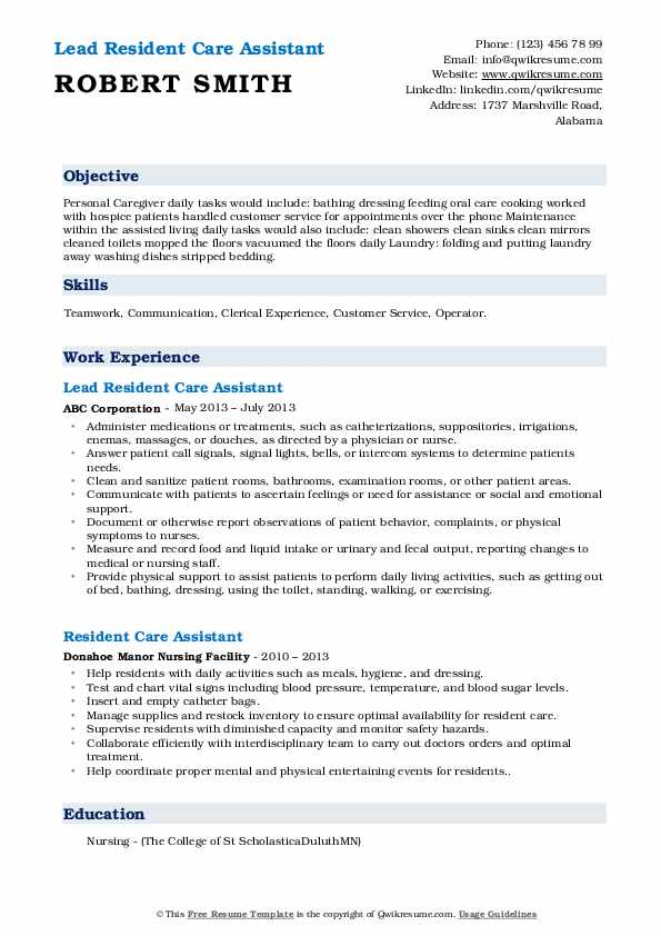 resident care assistant resume samples qwikresume assisted living duties pdf contoh Resume Assisted Living Duties Resume