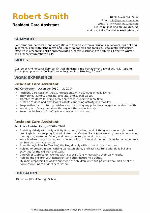 resident care assistant resume samples qwikresume assisted living duties pdf whats title Resume Assisted Living Duties Resume