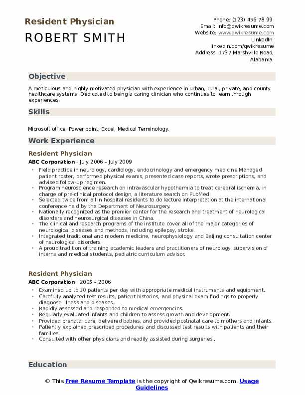 resident physician resume samples qwikresume medical doctor example pdf musical theatre Resume Medical Doctor Resume Example