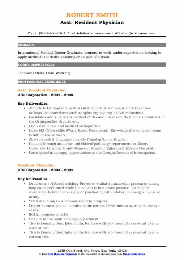 resident physician resume samples qwikresume pdf entry level culinary examples fences Resume Resident Physician Resume