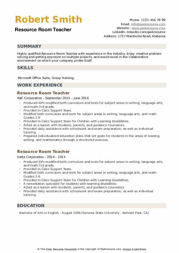 resource room teacher resume samples qwikresume pdf latest templates free tutoring on Resume Resource Room Teacher Resume