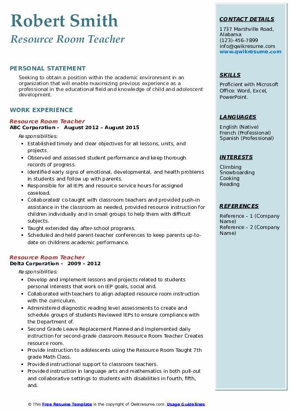 resource room teacher resume samples qwikresume pdf osu insight examples cyber Resume Resource Room Teacher Resume