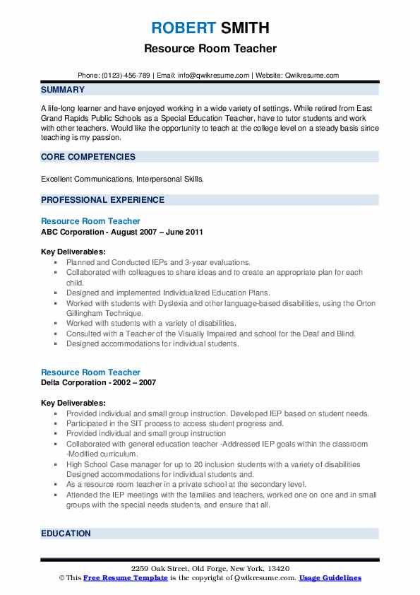 resource room teacher resume samples qwikresume pdf polymer chemist dnc bank project Resume Resource Room Teacher Resume