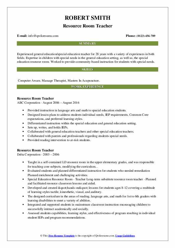 resource room teacher resume samples qwikresume pdf project analyst professional trainer Resume Resource Room Teacher Resume