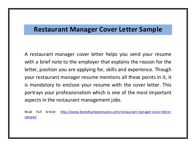 restaurant manager cover letter sample pdf resume professional account executive for Resume Restaurant Manager Resume Cover Letter