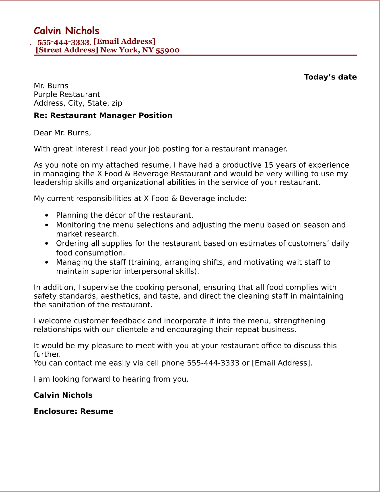 restaurant manager cover letter sample resume catchy titles example cpm professional Resume Restaurant Manager Resume Cover Letter