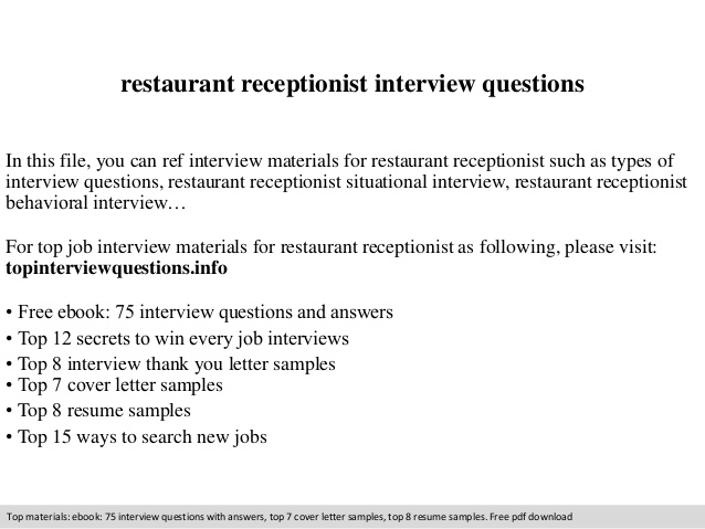 restaurant receptionist interview questions resume analyst benefits specialist small Resume Restaurant Receptionist Resume
