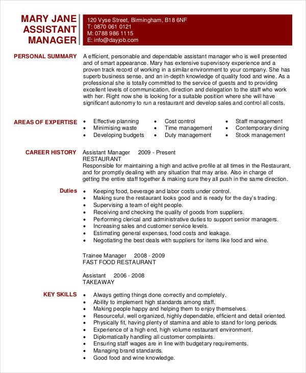 restaurant resume free word pdf documents premium templates fast food assistant manager Resume Fast Food Restaurant Resume
