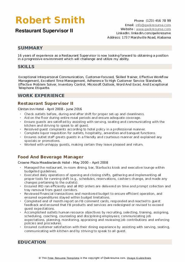 restaurant supervisor resume samples qwikresume objective pdf wizard reviews whats the Resume Supervisor Resume Objective Samples