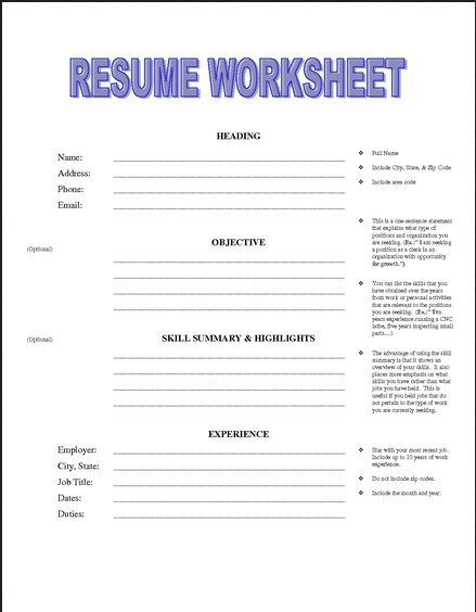 resume building worksheet for high school students with worksheets printable quiz math Resume Resume Lesson For High School Students