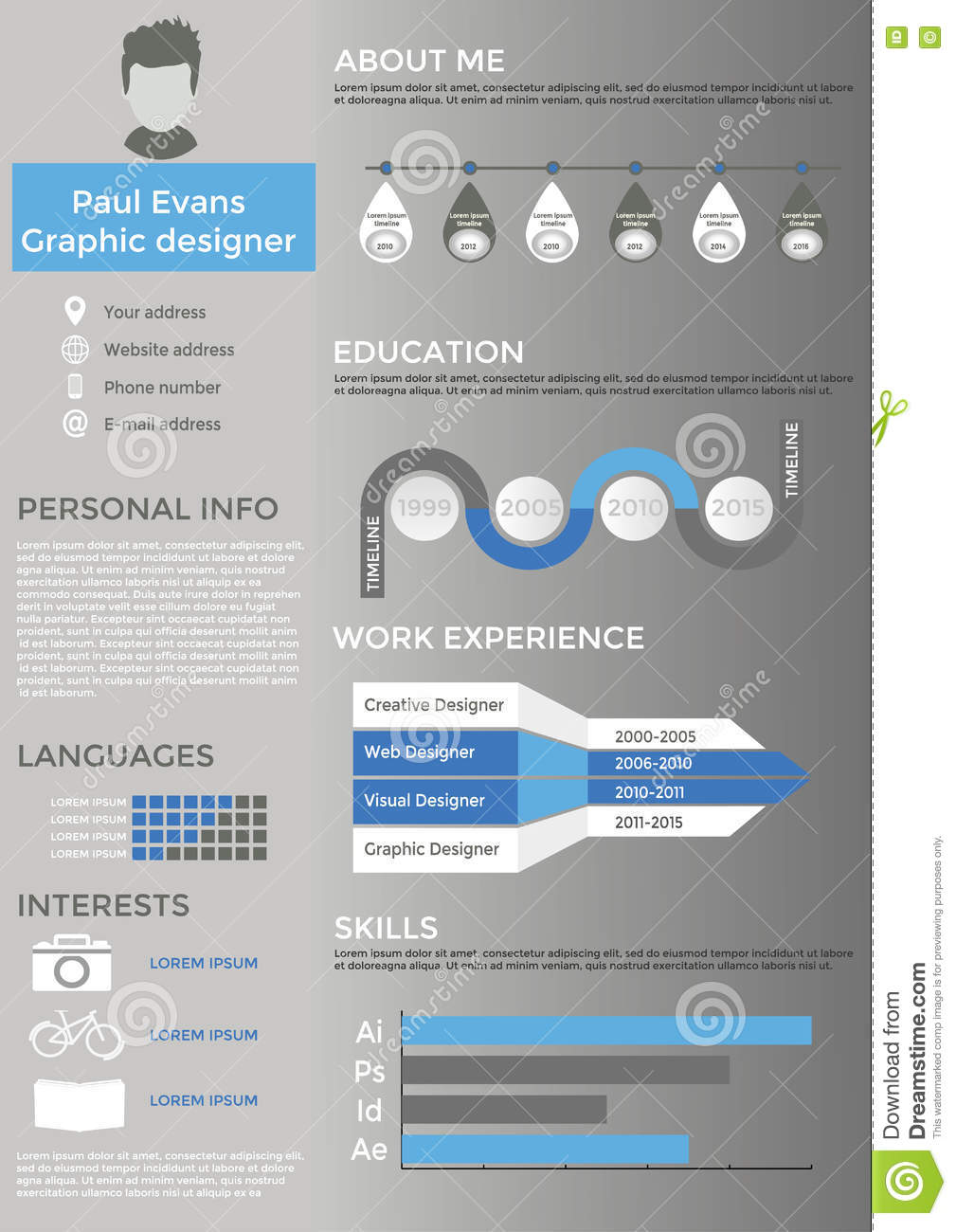 resume cv set with infographics and timeline stock vector illustration of graph flat Resume Infographic Resume Timeline