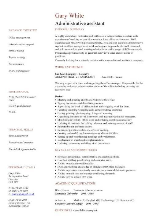 resume examples administration administrative assistant cv template free office format Resume Administration Resume Format