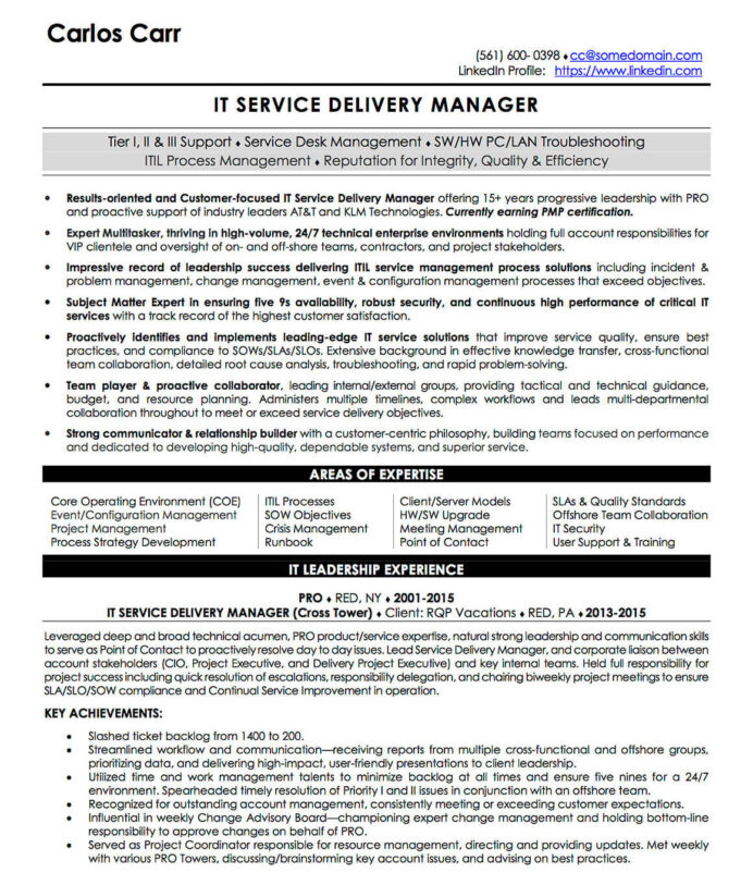 resume examples cv sample templates rso resumes delivery director it service manager cpc Resume Federal Resume Ksa Writing Service