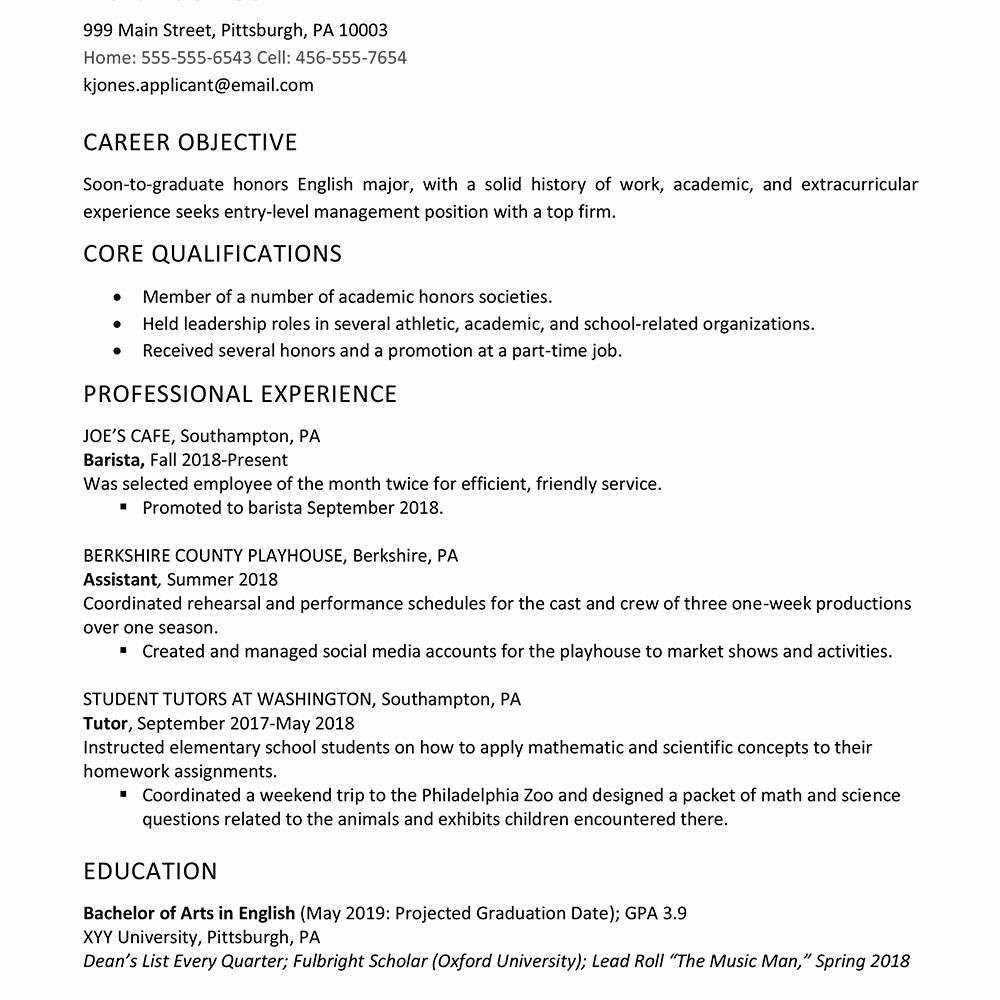 resume examples for graduate school lovely high example work experienc job professional Resume Professional High School Resume
