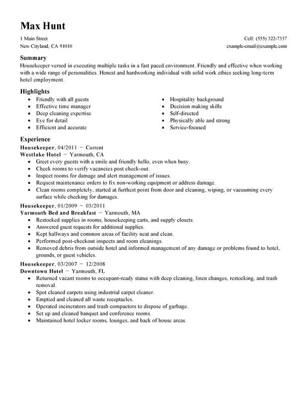 resume examples housekeeping job samples skills example hotel objective for supervisor Resume Housekeeping Resume Example Hotel