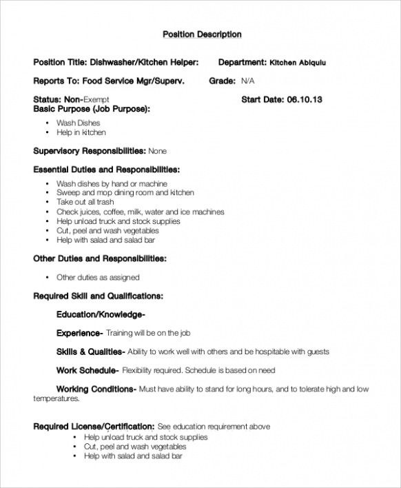 resume examples kitchen templates food service jobs responsibilities fillable template Resume Kitchen Hand Responsibilities Resume