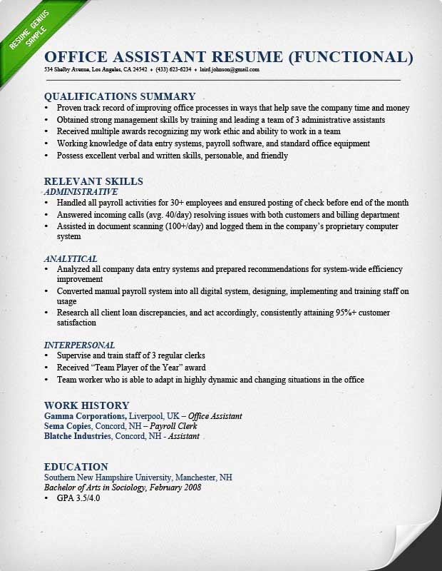 resume examples skills qualifications section for your and office assistant functional Resume Qualifications And Skills Resume