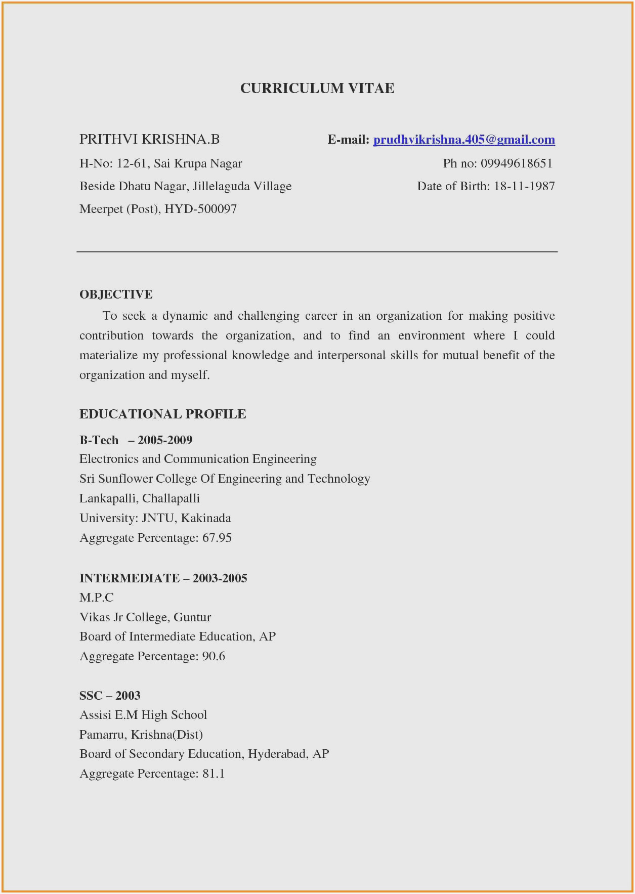 resume for freshers engineers sample format pdf hard copy of retail cashier Resume Ece Resume For Freshers