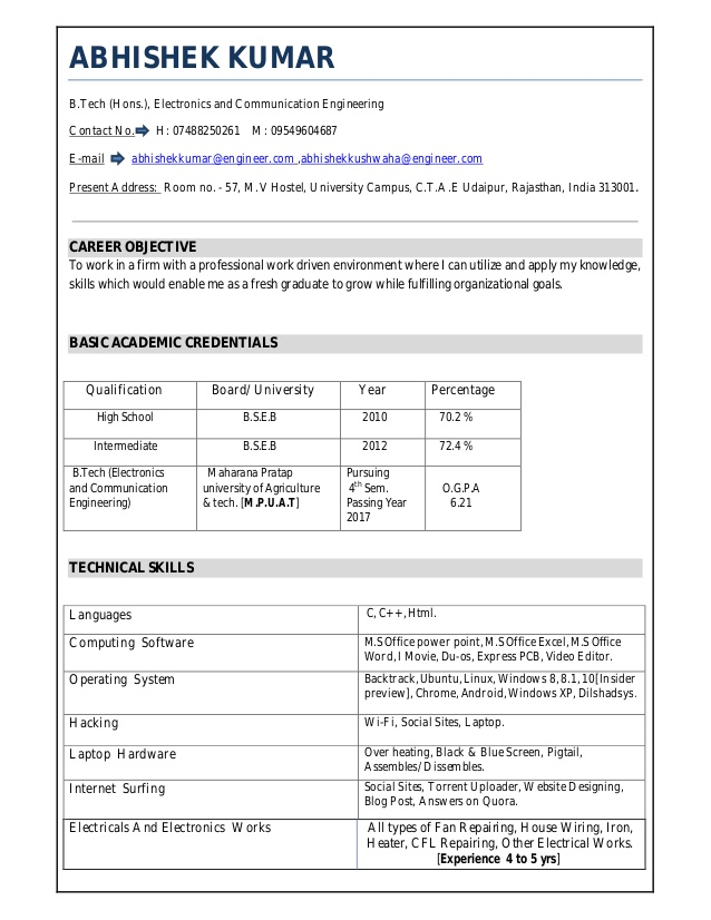 resume for freshers teacher examples funeral home administrative assistant data center Resume Ece Resume For Freshers
