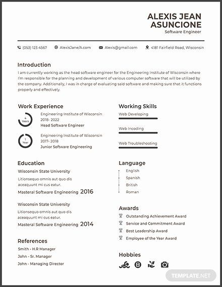 resume for google software engineer awesome free quality cv template templa hobbies Resume Hobbies For Resume For Engineers