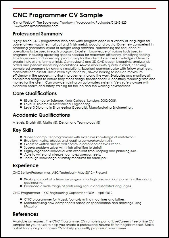 resume for manufacturing job luxury cnc programmer cv example myperfectcv in samples Resume Machine Operator Summary For Resume
