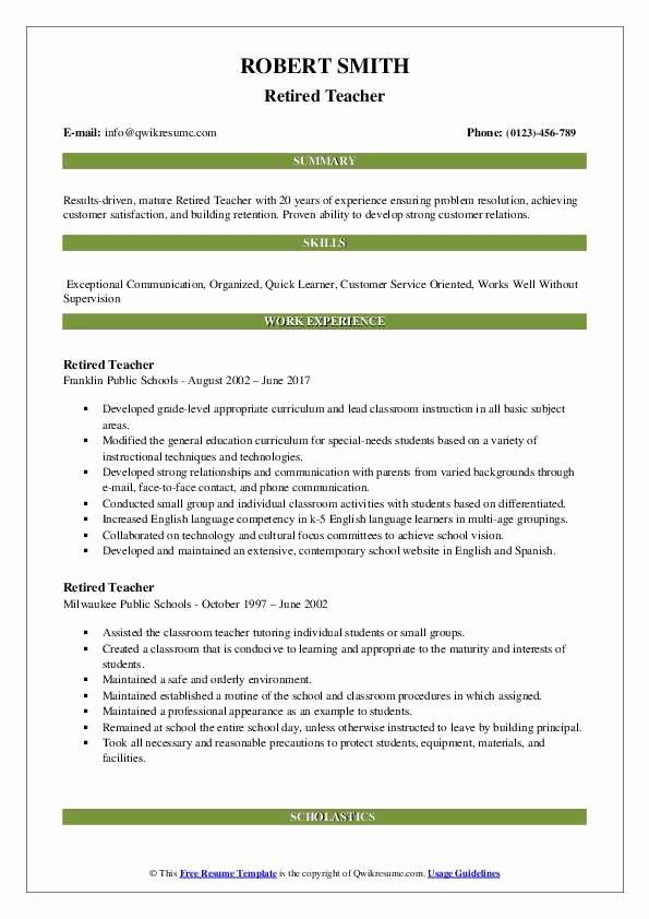 resume for retired beautiful teacher samples examples template uptowork skills and Resume Resume For Retired Person