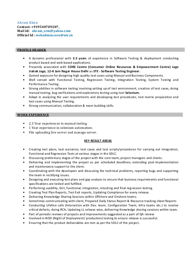 resume for software test engineer selenium year experience blank format pats dental Resume Selenium Resume For 1 Year Experience