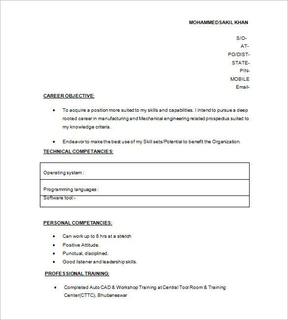 resume format 10th pass simple templates for fresher 12th job skills medical tips Resume Resume Format For Fresher 12th Pass