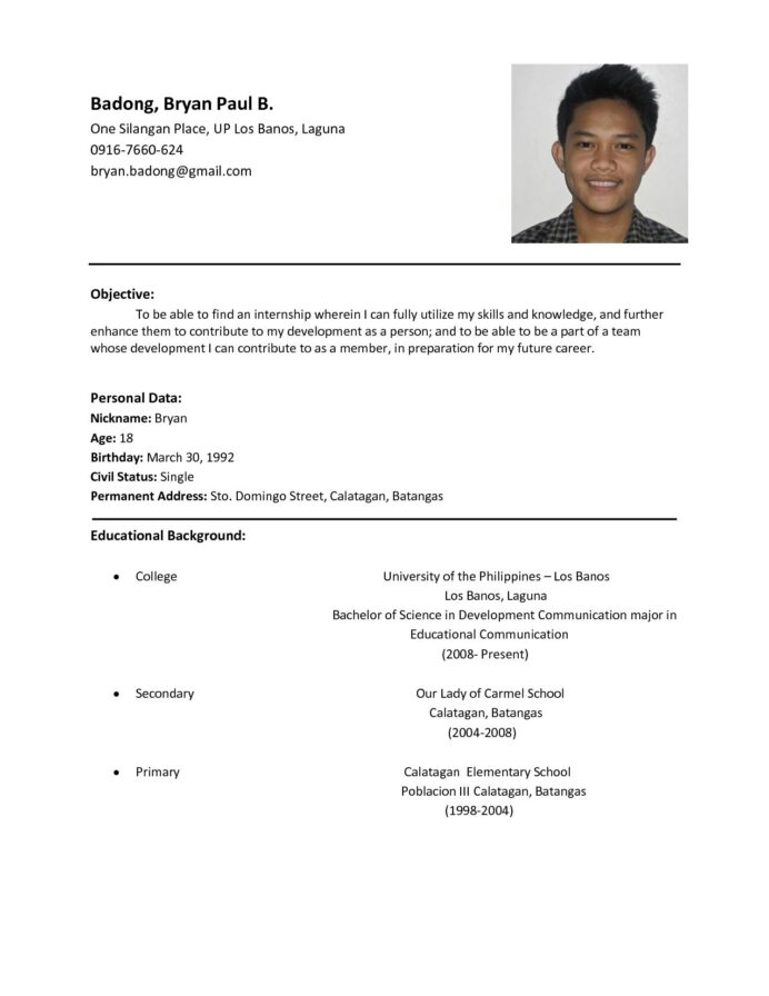 resume format examples for job sample basic and business owner description Resume Resume Format And Examples