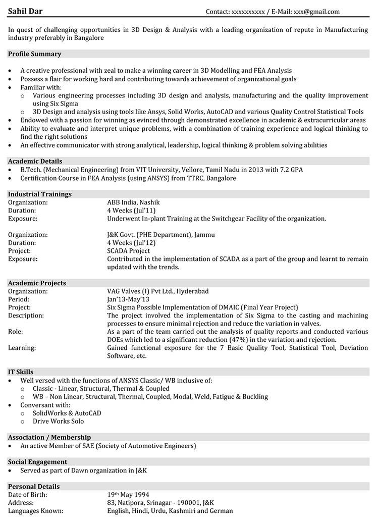 resume format for automobile engineer best examples un voisin trop parfait human Resume Automobile Engineer Resume