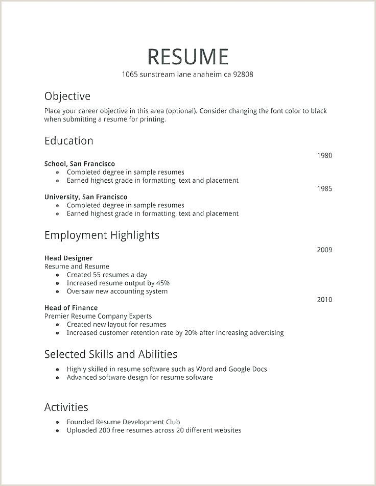 resume format for job application first time unique templates free talent management Resume Resume Format For First Job