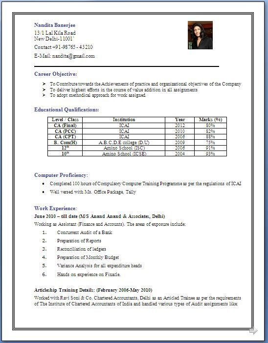 resume format for years experience in accounting free tally corporate executive chef Resume Tally Experience Resume Format