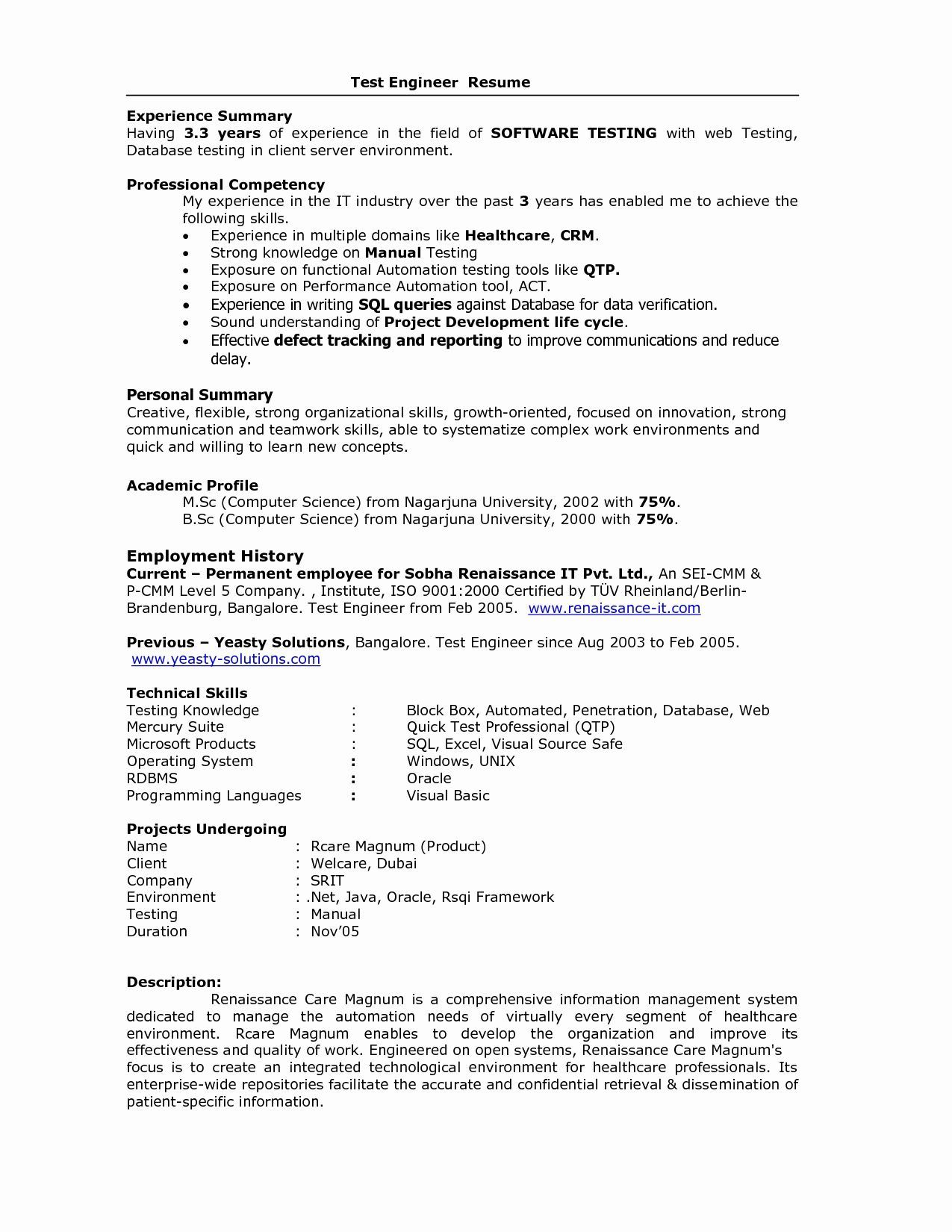 resume format for years experience in testing best software sample experienced test Resume Sample Resume For Experienced Test Engineer