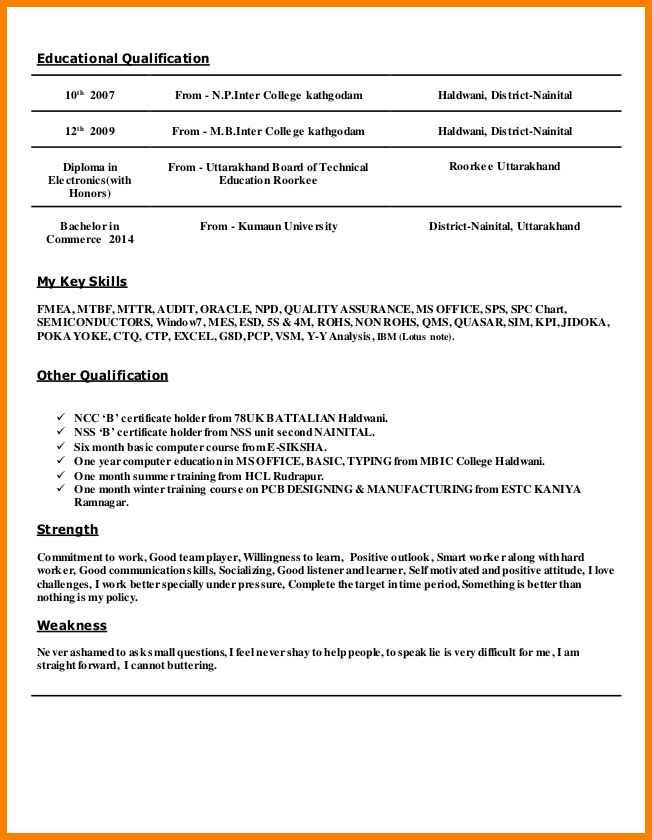 resume format qualifications templates qualification markdown examples owl primary school Resume Resume Qualification Format