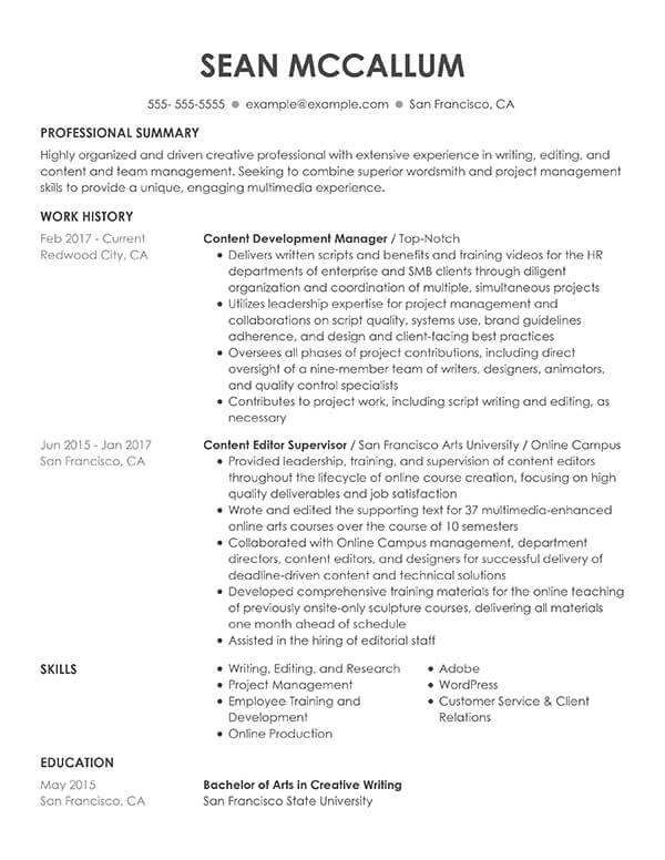 resume formats guide my perfect traditional examples content development manager Resume Traditional Resume Examples