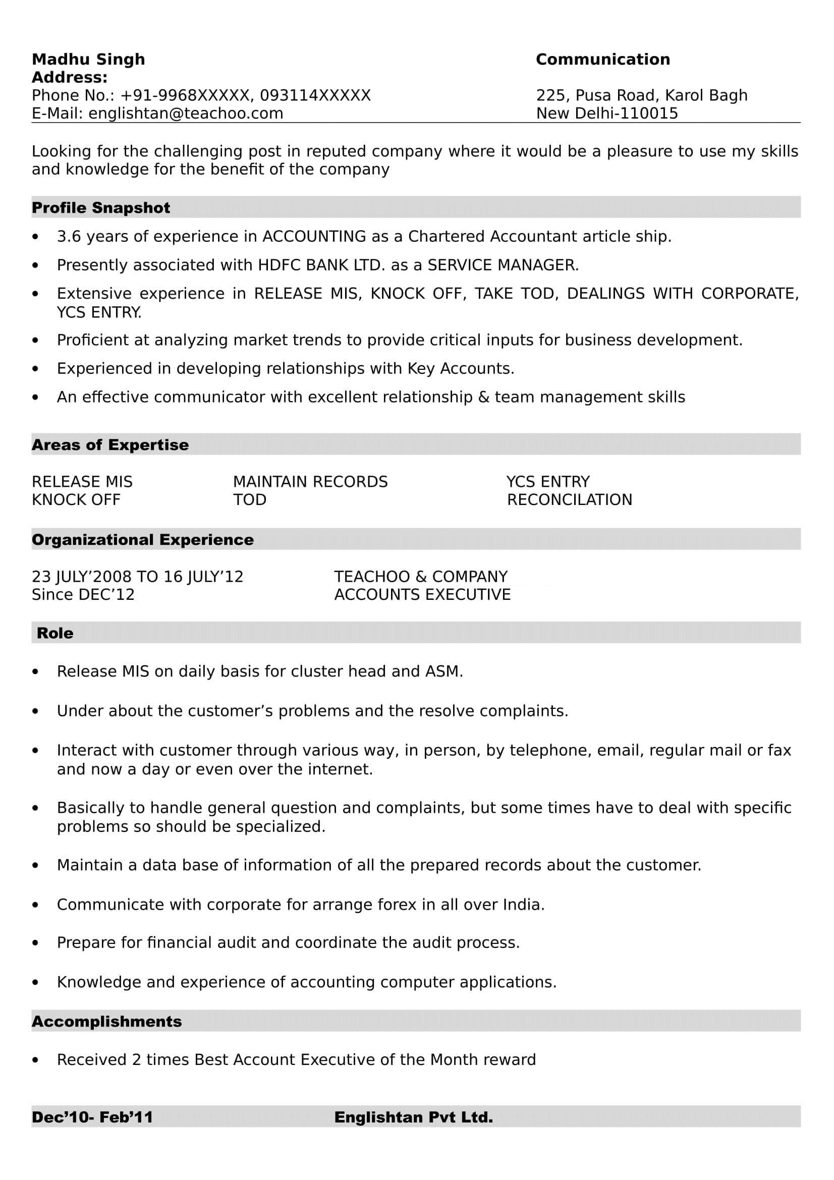 resume formats making tally experience format and references business development Resume Tally Experience Resume Format