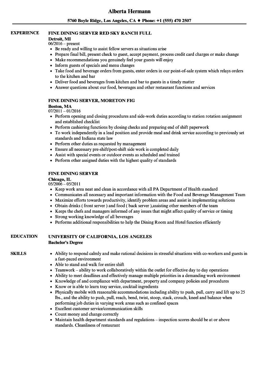resume job description for server on fine dining sample current trends article assistant Resume Job Description For A Server On A Resume