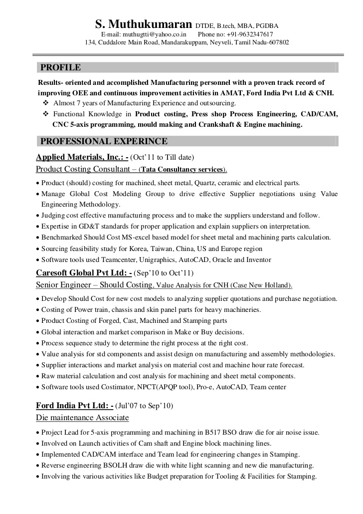 resume muthu automobile product costing 7years engineer fonts for design make nice Resume Automobile Engineer Resume