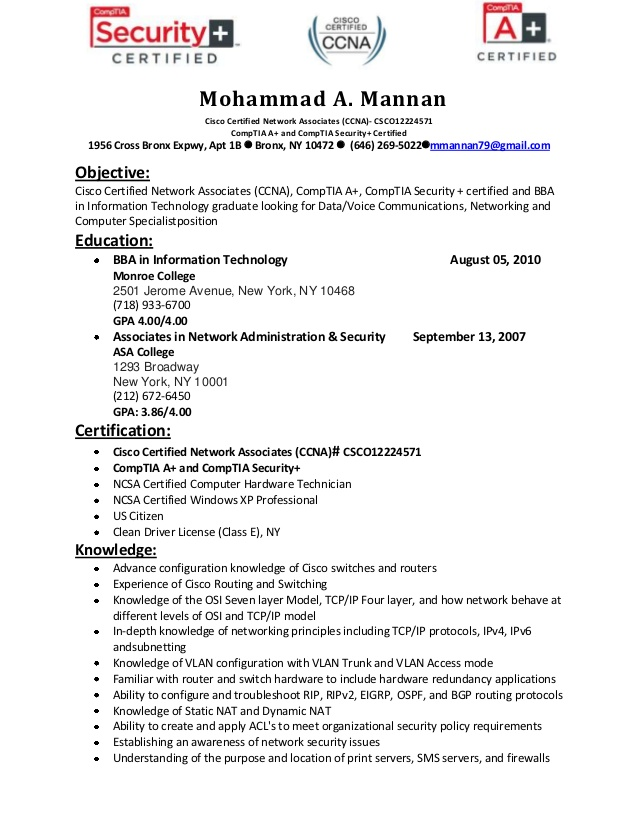 resume of mohammad mannan ccna routing and switching for freshers high school work talent Resume Ccna Routing And Switching Resume For Freshers