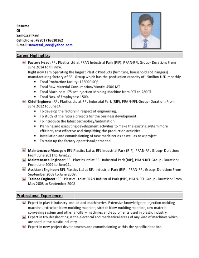 resume of paul injection moulding facility maintenance layout ideas house cleaning job Resume Injection Moulding Resume