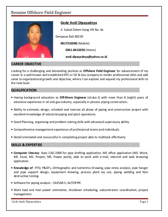 resume offshore field engineer experience hostess responsibilities civil construction Resume Offshore Experience Resume