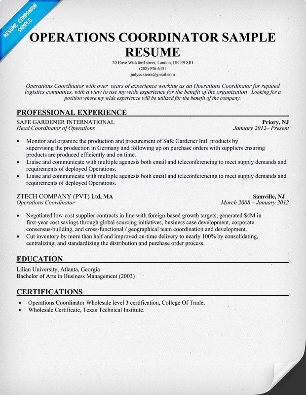 resume samples and to write companion examples job template operations coordinator rn bsn Resume Operations Coordinator Resume