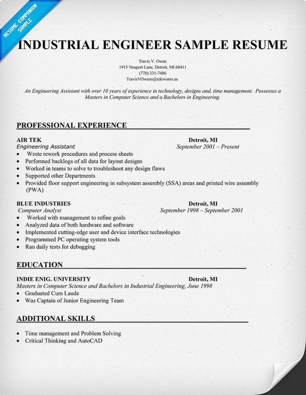 resume samples and to write companion industrial engineer residential construction Resume Industrial Engineer Resume