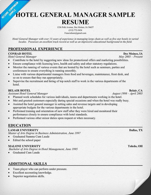 resume samples and to write companion manager job hotel general sample for position Resume Resume Sample For General Manager Position