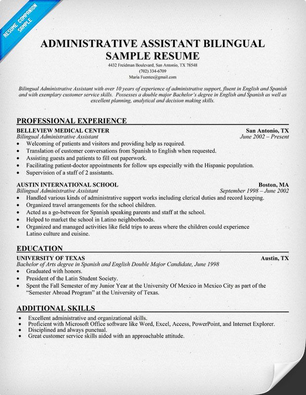 resume samples and to write companion medical assistant administrative examples bilingual Resume Bilingual Resume Objective