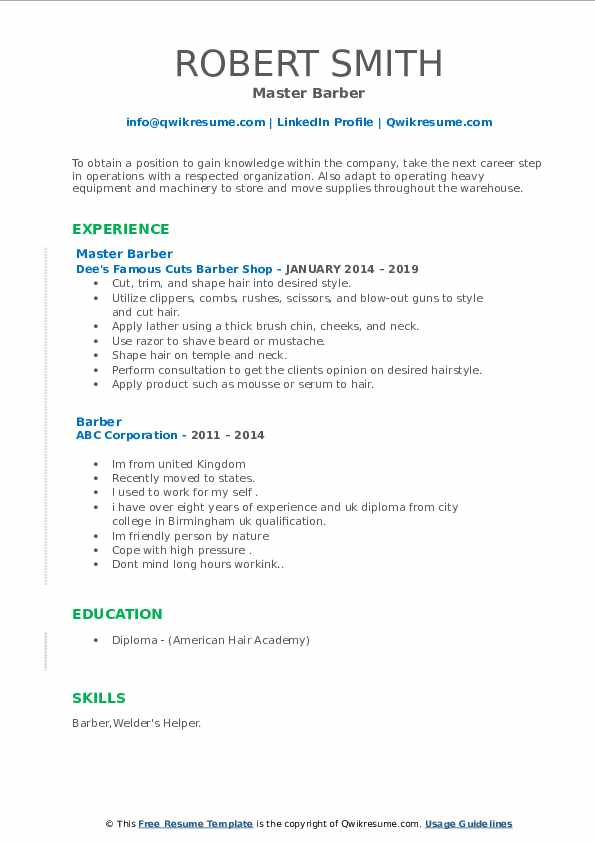 resume samples qwikresume shop owner pdf free modern template works well with others Resume Barber Shop Owner Resume