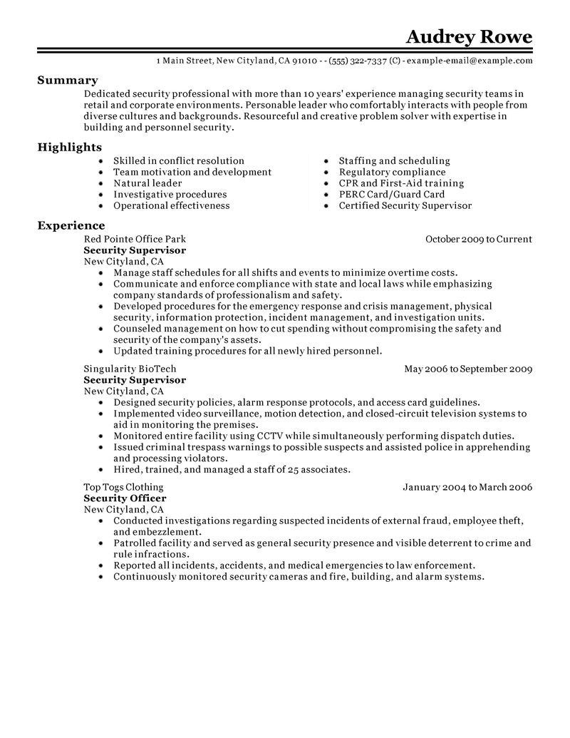 resume security guard examples fresh supervisor objective for proyectoportal templates Resume Security Officer Resume Objective