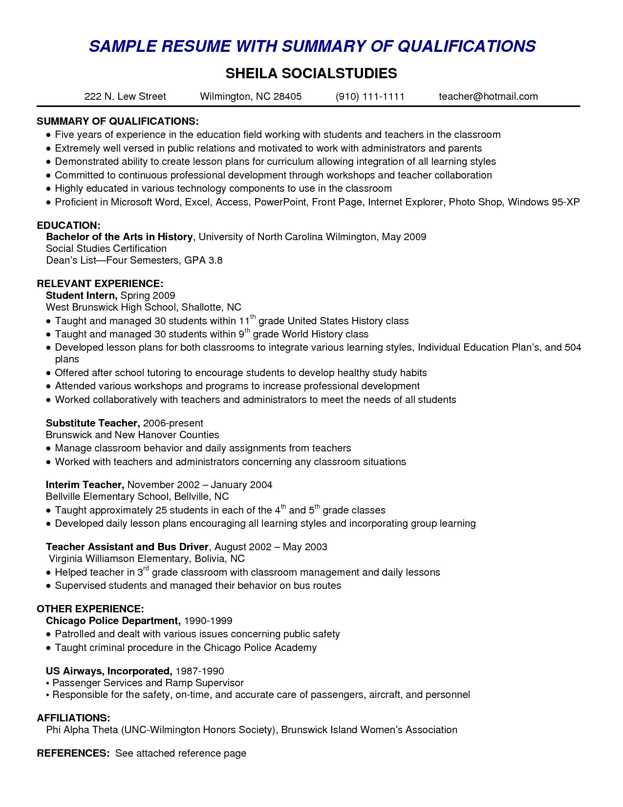 resume skills summary examples example of for amusing good graduate assistant supply Resume Skills Summary For Resume