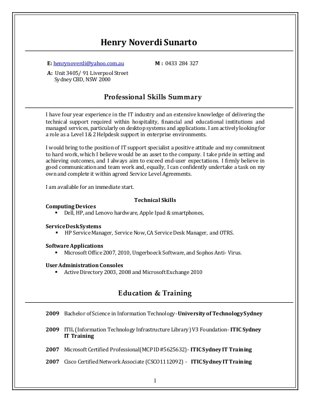 resume technical support updated help desk bank executive acting format template entry Resume Help Desk Support Resume