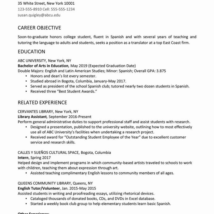 resume template for college student unique graduate example and writing school good Resume College Graduate Resume Example And Writing Tips